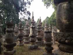 Tombstones at the temple