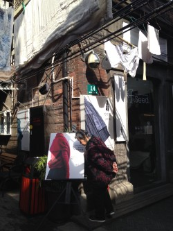 Tianzifang is an art & craft area with residential houses. You can see underwears hanging